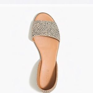 NWT J Crew Morgan calf hair leopard sandals
